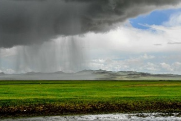 Paleoclimate: Heavy Rain over Mongolia - Top Left: a dark grey cloud is pouring heavy rains on a (Bottom Half) bright green plain. Top Right of Image shows blue sky peeking through fluffy, white clouds.