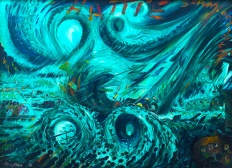 "Hurricane Hattie Belize, by Delvin ""Pen"" Cayetano, 1996, Oil on Canvas; ©2018 Artists Rights Society, New York/ VG Bild-Kunst, Bonn; reproduced with permission 